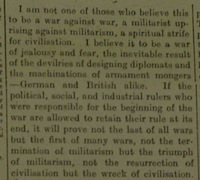 Brockway anti-WWI LL editorial