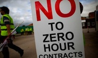 Zero-hours contracts placard